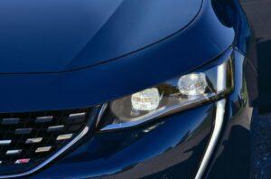 2nd generation peugeot 508 sedan headlamps close view