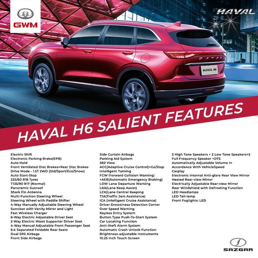 3rd generation haval h6 suv pakistan specifications and features
