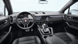 3rd generation porsche cayenne suv front cabin interior view