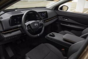 1st generation Nissan Ariya All Electric SUV front cabin interior view