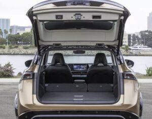 1st generation Nissan Ariya All Electric SUV luggage area view