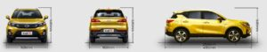 GAC GS3 SUV 1st Generation all sides dimension view