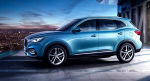 mghs PHEV SUV blue full side view