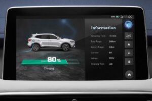 mghs PHEV SUV infotainment screen and charging information view