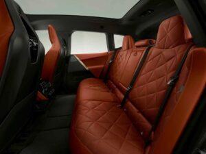 BMW IX Mid Size SUV 1st Generation Brown Interior rear seats