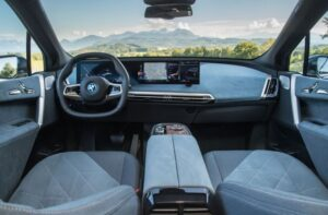 BMW IX Mid Size SUV 1st Generation front cabin interior view