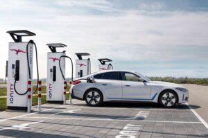 BMW i4 EV 1st generation sedan another full beautiful side view