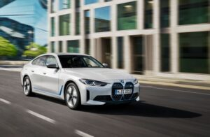 BMW i4 EV 1st generation sedan beautiful on run view