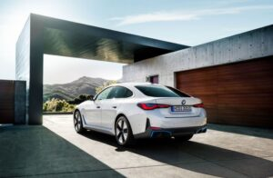 BMW i4 EV 1st generation sedan beautiful side and rear view
