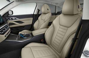 BMW i4 EV 1st generation sedan front seats view