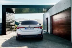BMW i4 EV 1st generation sedan full rear view