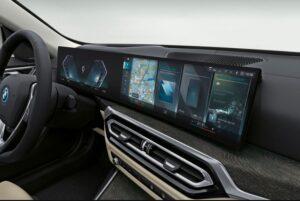 BMW i4 EV 1st generation sedan infotainment screen view