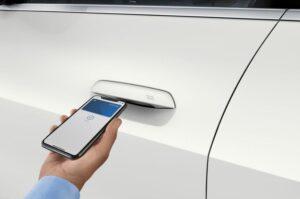 BMW i4 EV 1st generation sedan mobile door opening feature