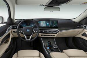BMW i4 EV 1st generation sedan steering wheel and instrument cluster view