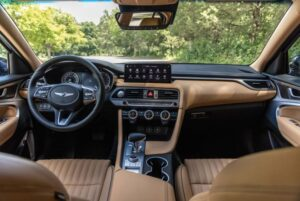 Genesis G70 Sedan 1st Generation facelift front cabin interior view