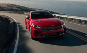 Kia stinger sedan Refreshed 1st generation red front view