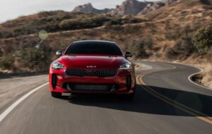 Kia stinger sedan Refreshed 1st generation red full front view