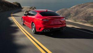 Kia stinger sedan Refreshed 1st generation red rear view