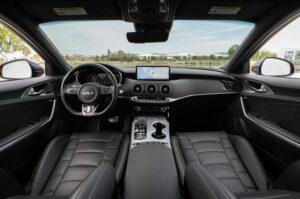 Kia stinger sedan Refreshed 1st generation front cabin interior view